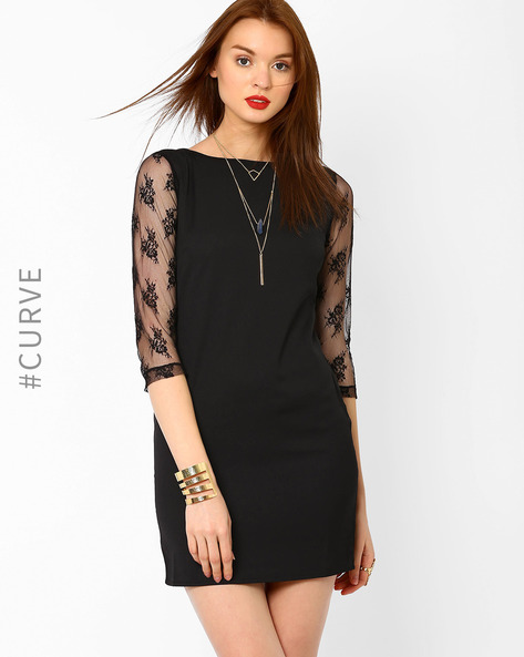 Bodycon Dress With Lace Sleeves By AJIO ( Black )