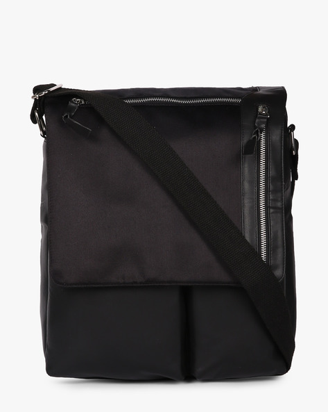 Messenger Bag With Zipper Pouch By AJIO ( Black )