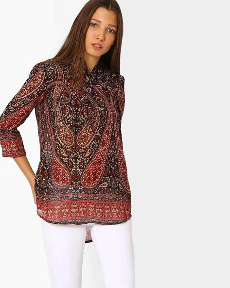 Printed Tunic With High-low Hem By AJIO ( Black )
