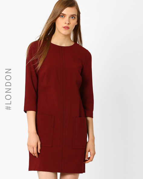 Sheath Dress With Patch Pockets By Marks & Spencer ( Red )
