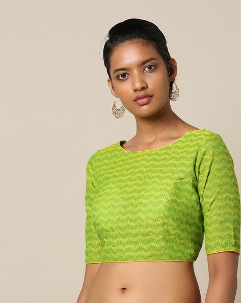 South Cotton Dobby Blouse With Back Tie-Up By Indie Picks ( Green )