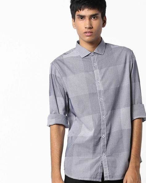 Slim Fit Cotton Checked Shirt By AJIO ( Black ) - 460103771001