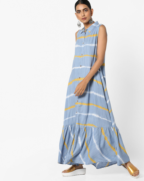 Tiered Maxi Dress With Shirt Collar By AJIO ( Grey )