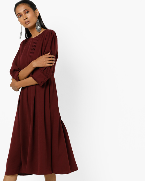 Pleated Midi Dress With Ruffled Sleeves By Femella ( Wine )