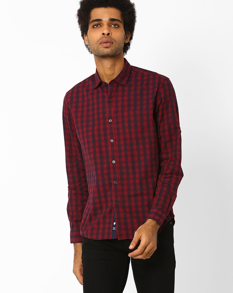 Checked Shirt With Patch Pocket By NETPLAY ( Maroonburg )