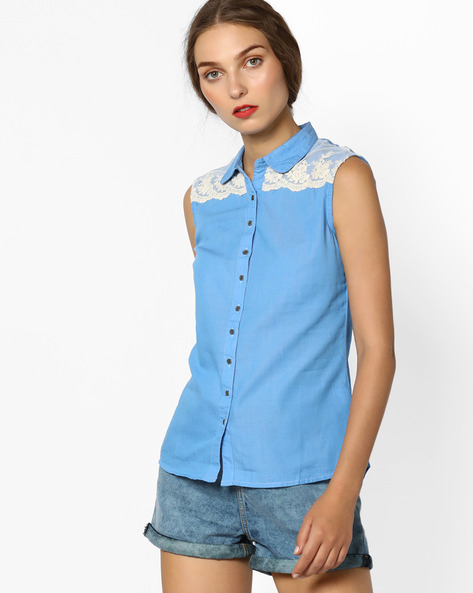 Sleeveless Shirt With Net Design By WRANGLER ( Blue )