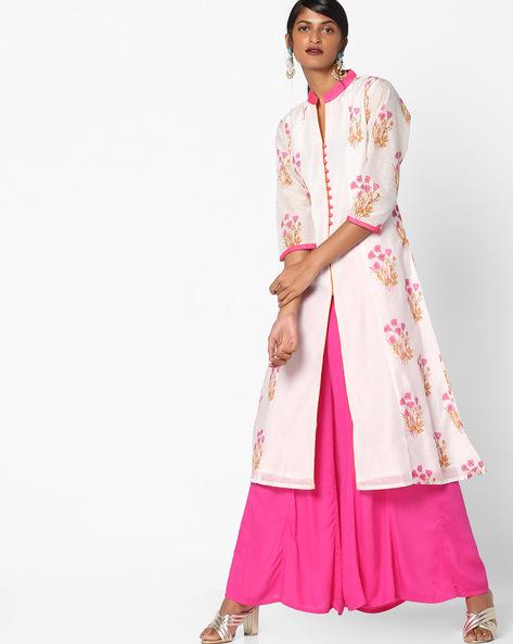 Floral Print A-line Kurta By Shakumbhari ( Pink )