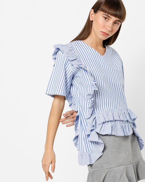 Striped V-neck Top With Ruffle Panels By AJIO ( Blue )
