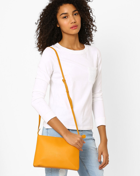 Messenger Sling Bag By AJIO ( Mustard )