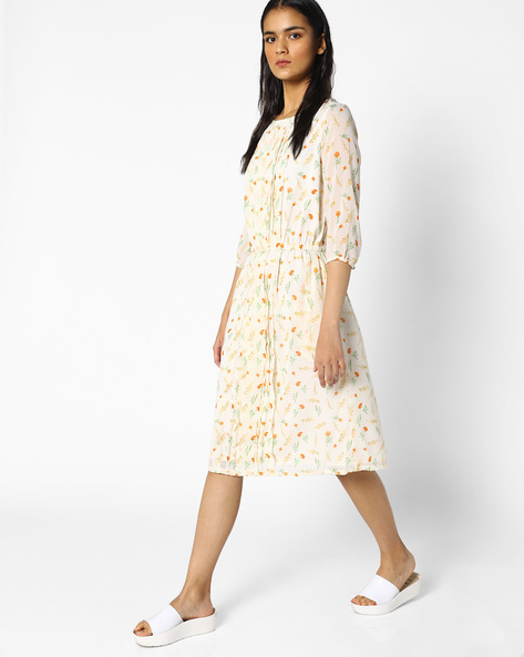 Floral Print Midi Dress With Pintucks By PE WW Work ( White )