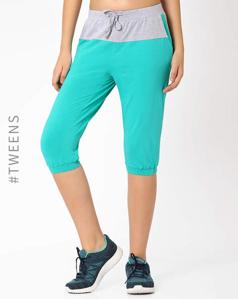 Capris With Drawstring Waist By AJIO Girl ( Aqua )