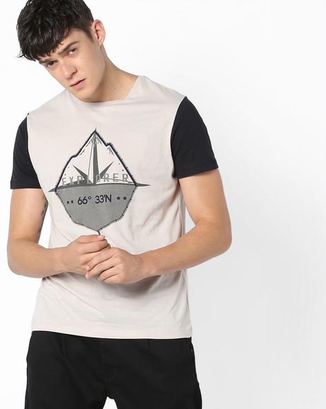 Graphic Print Crew-Neck Shirt By AJIO ( Anthracite )
