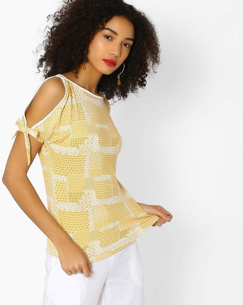 Geometric Print Cold-Shoulder Top By And ( Multi )