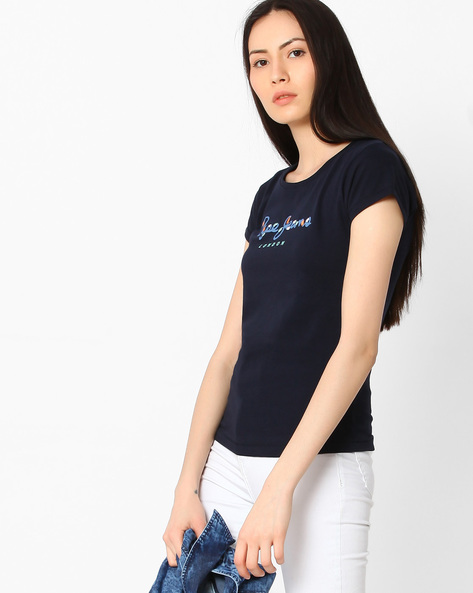 Printed Cotton T-shirt By Pepe Jeans ( Navy )