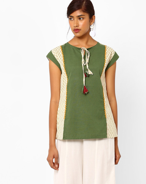 Printed Panelled Top With Tie-Up By AJIO ( Offwhite )