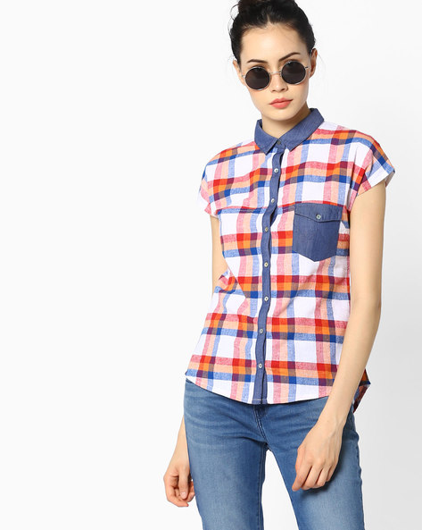 Checked Shirt With Extended Sleeves By WRANGLER ( White )