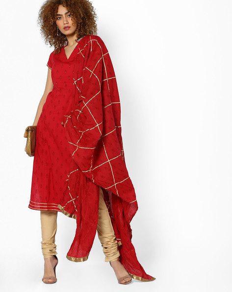 Printed Kurta With Embellished Yoke By AJIO ( Red )