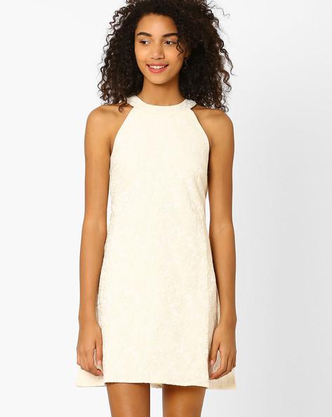 Jacquard A-line Dress By Lotus Threads ( Ivory )