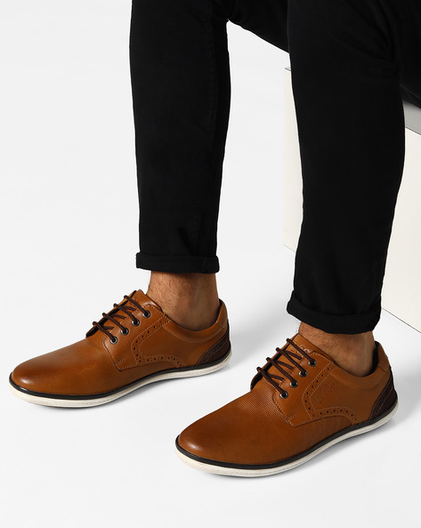 Genuine Leather Lace-Up Shoes By Lee Cooper ( Tan )