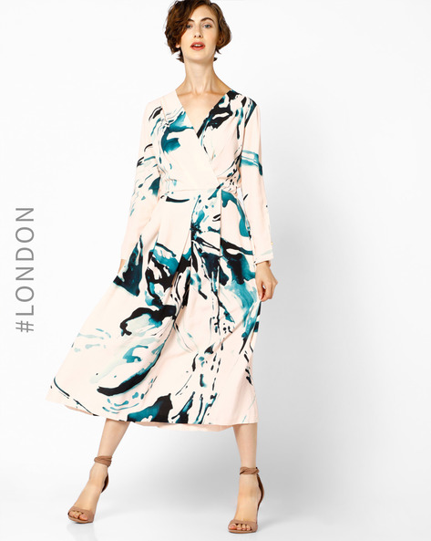 Printed V-neck Midi Dress By Closet London ( Multi )