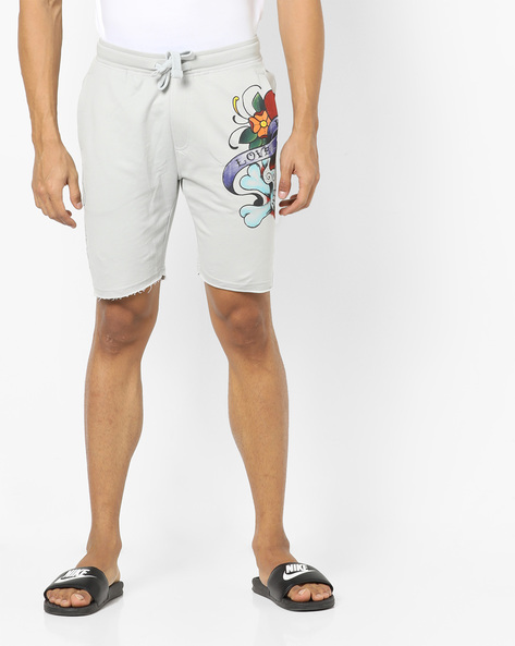 Printed Shorts With Tie-Up Waist By ED HARDY ( Grey )