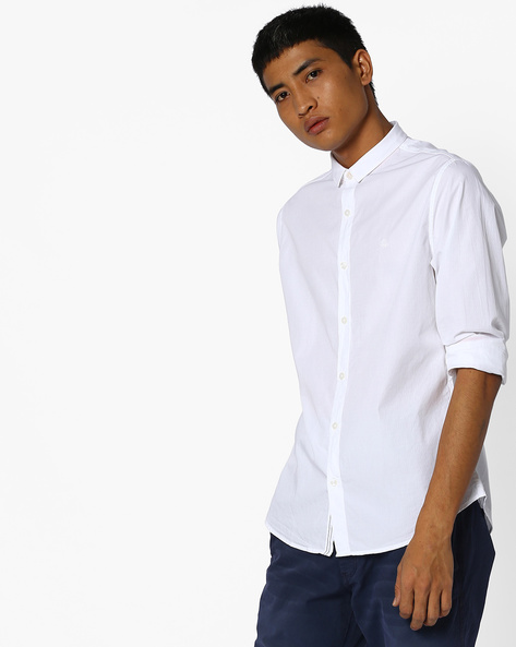 Slim Fit Shirt With Spread Collar By UNITED COLORS OF BENETTON ( White )