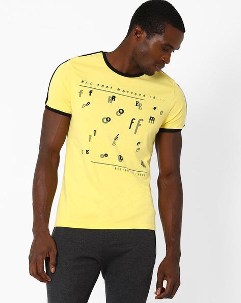 Graphic Print Crew-Neck T-shirt By AJIO ( Yellow ) - 460025853001