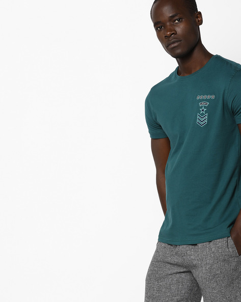 Crew-Neck T-shirt With Embroidered Badge By AJIO ( Teal )