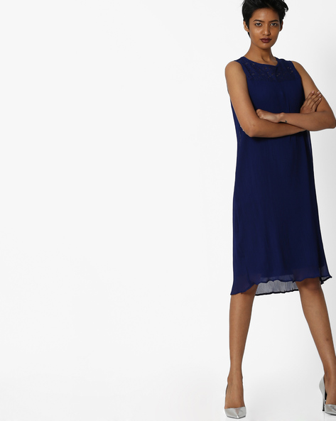 Shift Dress With Lace Yoke By FIG ( Navy )