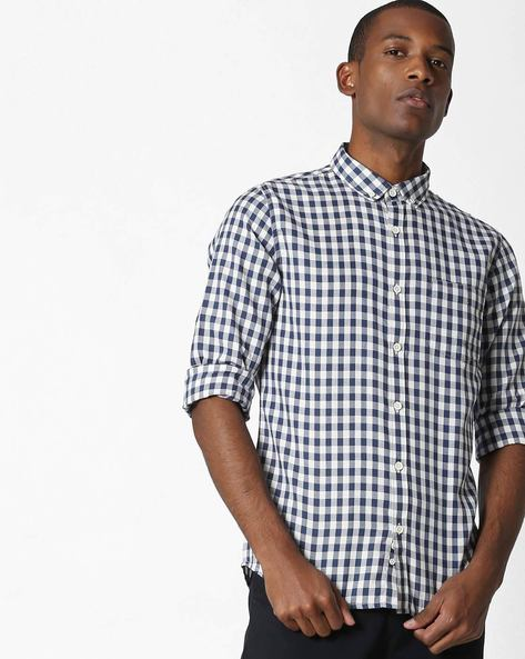 Checked Button-Down Shirt With Patch Pocket By UNITED COLORS OF BENETTON ( Darkblue )