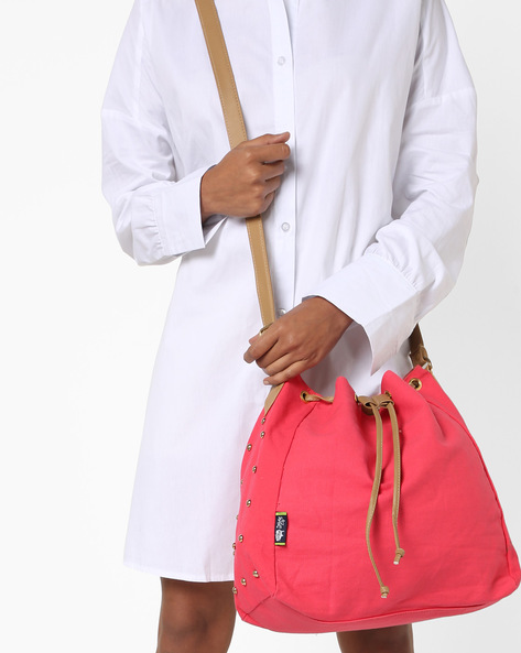Canvas Sling Bag With Drawstring Fastening By Kanvas Katha ( Peach )
