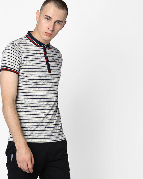 Printed Polo T-shirt By Fort Collins ( Grey )