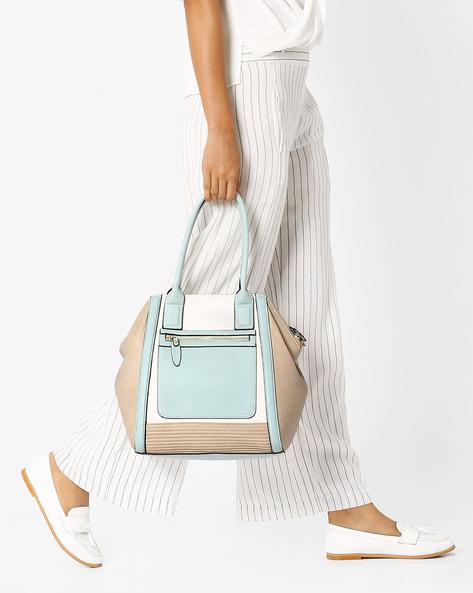 Textured Handbag With Rolled Handles By AJIO ( Grey )