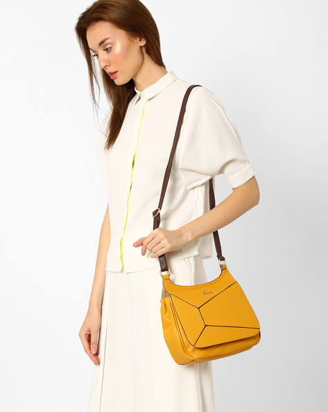 Textured Sling Bag With Panelled Flap By Lavie ( Mustard )