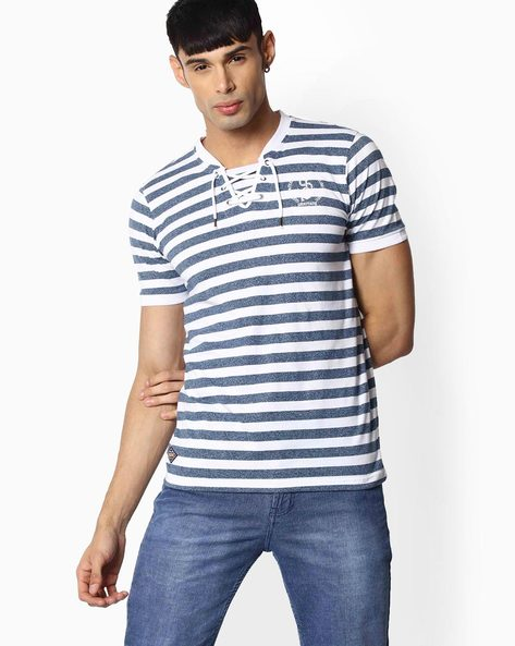 Striped T-shirt With Lace-up By TEAM SPIRIT ( Blue )
