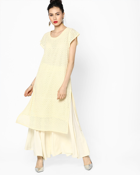 Straight Kurta With Cap Sleeves By Melange By Lifestyle ( Offwhite )