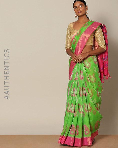 Handloom Ikat Pure Silk Cotton Saree By Rudrakaashe-MSU ( Green )