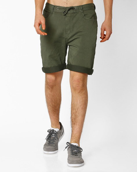 Regular Fit Shorts With Drawstring By TEAM SPIRIT ( Olive )