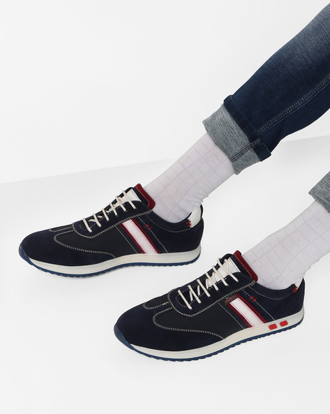 Low-Top Sneakers With Contrast Panels By DUKE ( Navy )