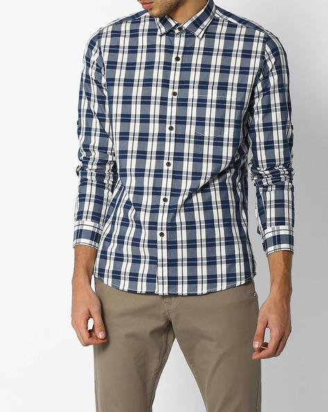 Regular Fit Checked Shirt By NETPLAY ( Navy )