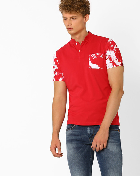 Cotton T-shirt With Mandarin Collar By Garcon ( Red )