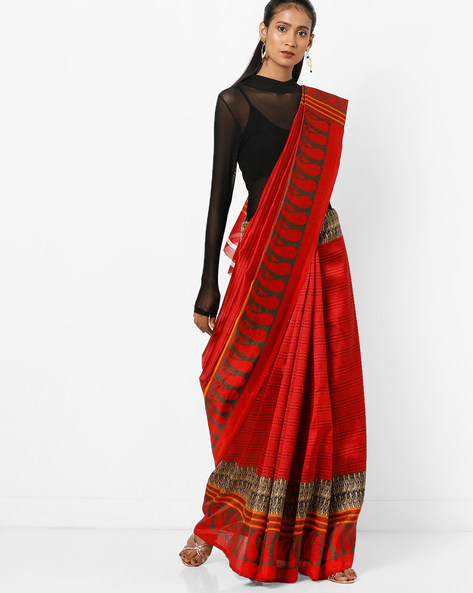 Striped Saree With Paisley Print Border By Florence ( Multi )