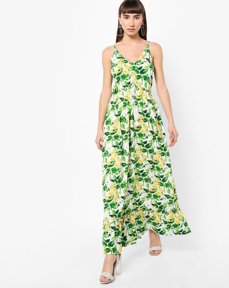 Strappy Floral Print Maxi Dress With Tie-Up By AJIO ( Green )