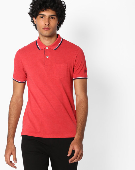 Polo T-shirt With Patch Pocket By TEAM SPIRIT ( Red )