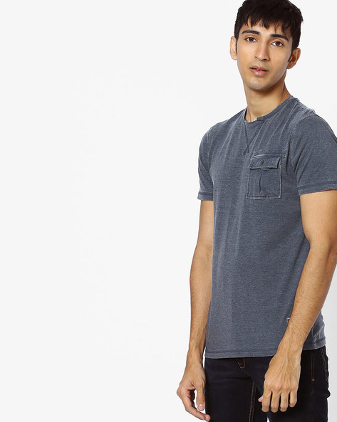 Crew-Neck T-shirt With Patch Pocket By DNMX ( Blue )