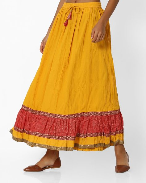 Colourblock Skirt With Tassel Tie-Up By AVAASA MIX N' MATCH ( Mustard )