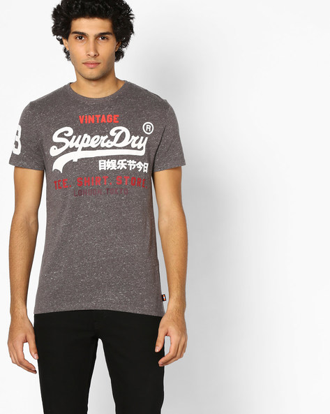 Crew-Neck T-shirt With Printed Branding By SUPERDRY ( Ai9 )