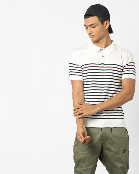 Flat-Knit Striped Polo T-shirt By NETPLAY ( Offwhite )