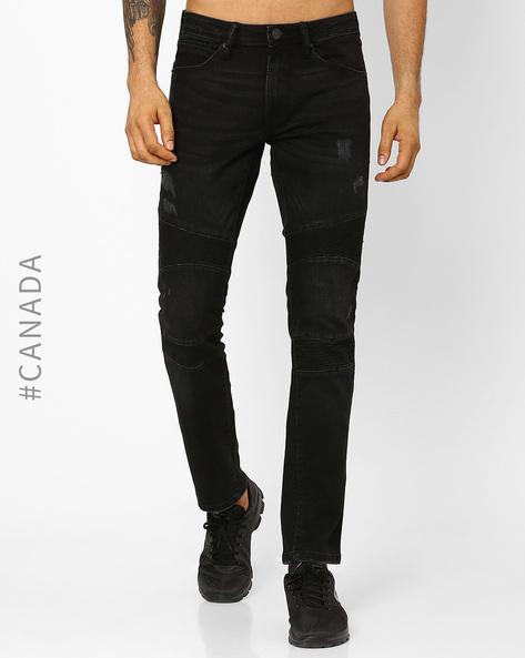 Skinny Fit Biker Jeans By Point Zero ( Black )
