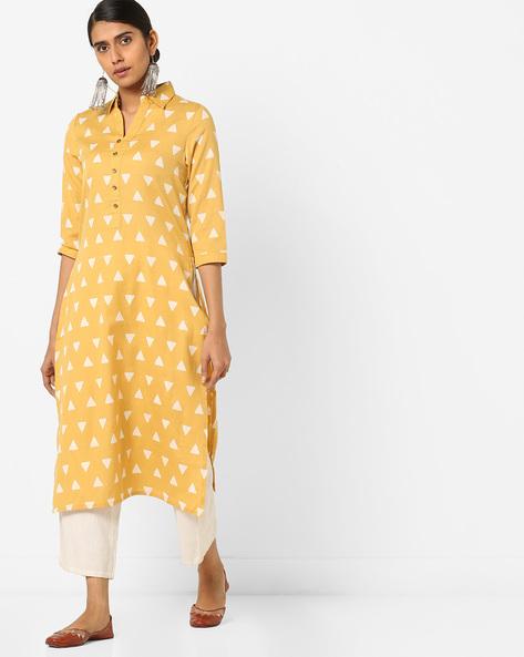 Geometric Print Straight Kurta With Shirt Collar By AJIO ( Mustard )